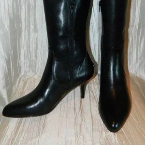 Coach Foxy Black LeathrPoint Toe Kitten Heel Boots